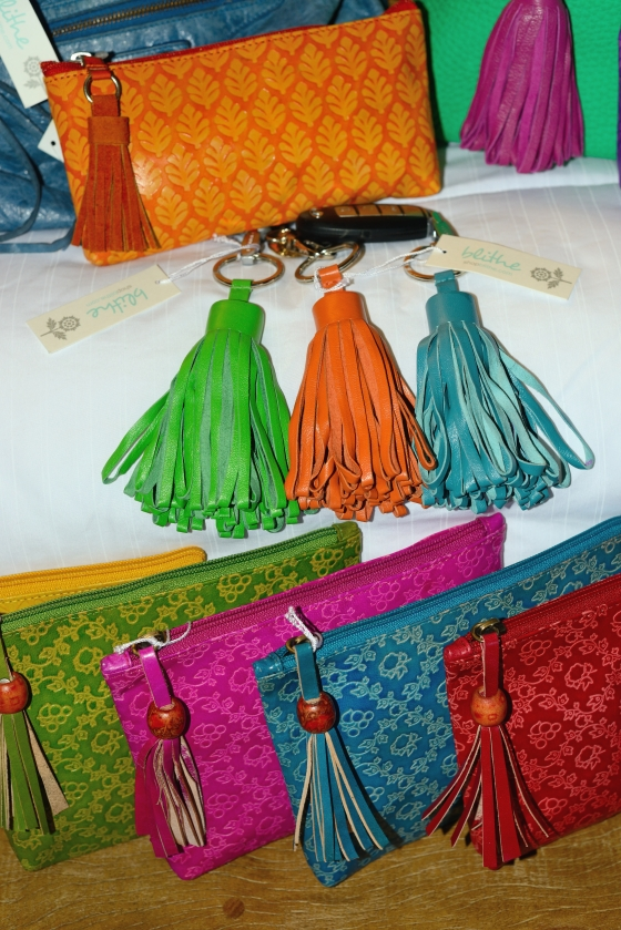 {Green, Orange & Turquoise Tassel Key Rings. Small Neem Clutch in Orange & Lattice Cosmetic Bags in Green, Fuchsia, Turquoise, Red}