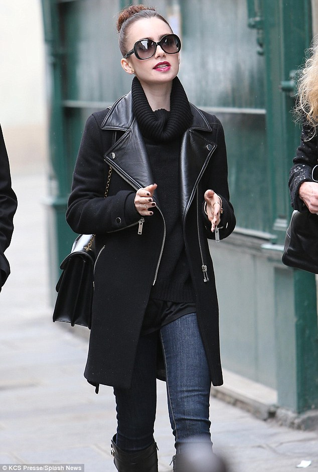 Lily Collins: Leather Biker Coat