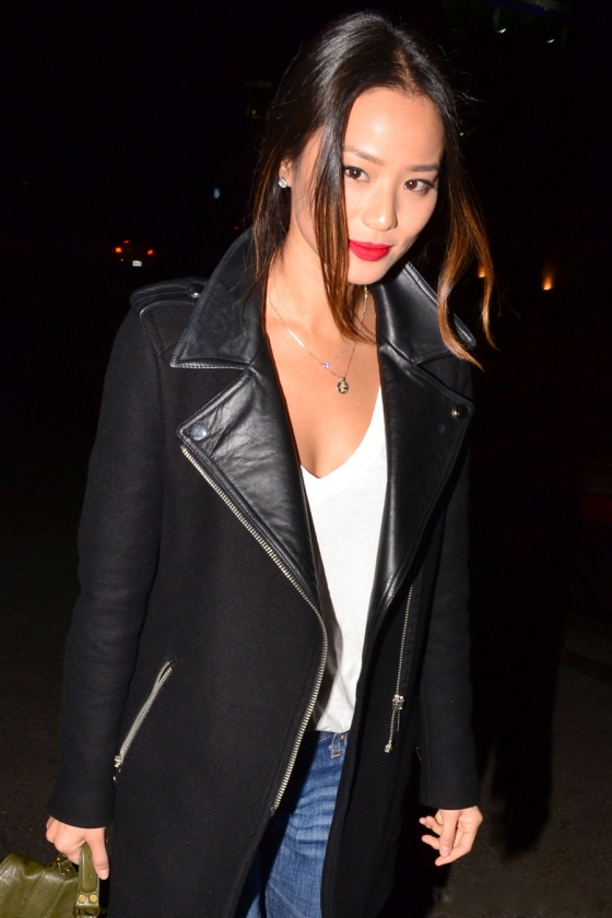 {Actress Jamie Chung is the Asos Wool & Leather Trim Biker Coat}