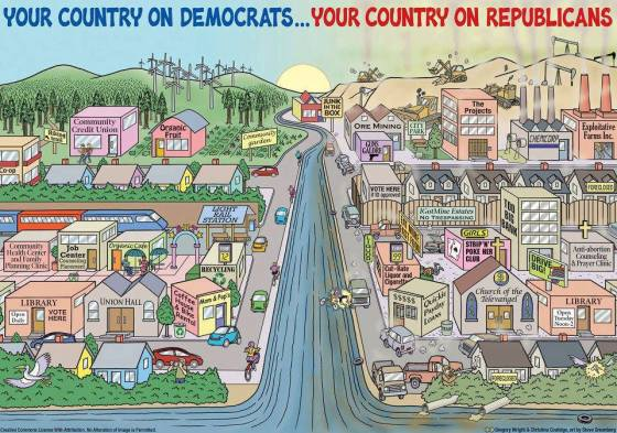 In A Nutshell: Your Country on Democrats vs. Your Country on Republicans
