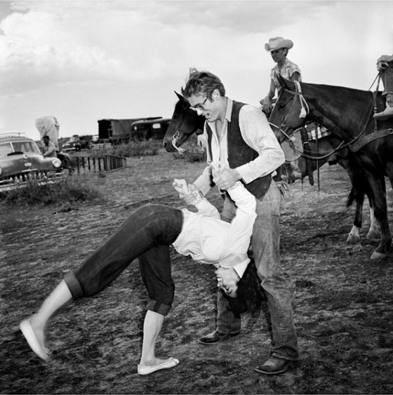 With James Dean on the set of Giant