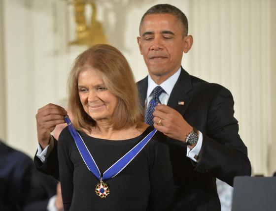 President Barack Obama awards the Presidential Medal of Freedom to writer and women's activist Gloria Steinem at the White House in Washington, D.C., November 20, 2013. UPI/Kevin Dietsch