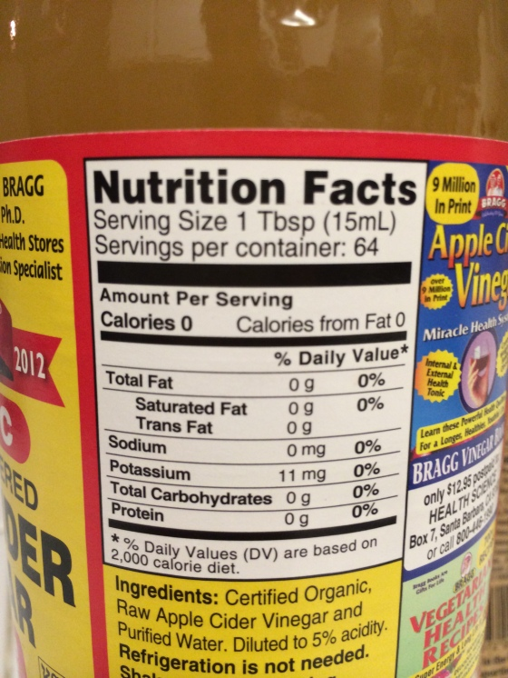 Nutritional Food Label Apple Cider Vinegar