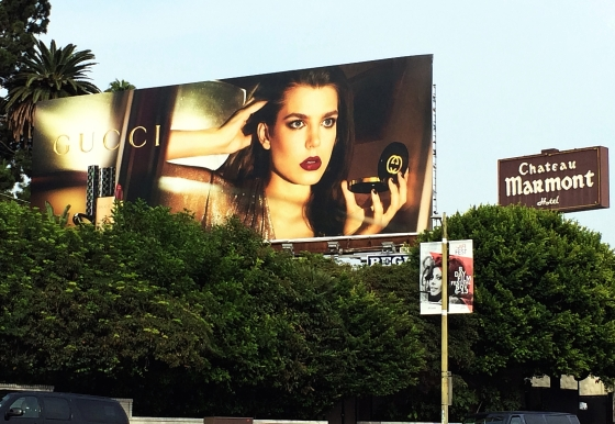 { Gucci / Charlotte Casiraghi billboard outside the iconic Chateau Marmont in West Hollywood, California }