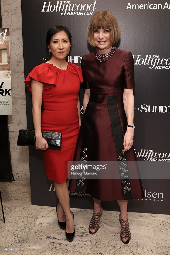 Photo credit: Getty Images, Neilson Barnard | Janice Min, left, with Vogue editor-in-chief Anna Wintour at party April 8, 2105 in New York City attending The Hollywood Reporter party for The 35 Most Powerful People in Media