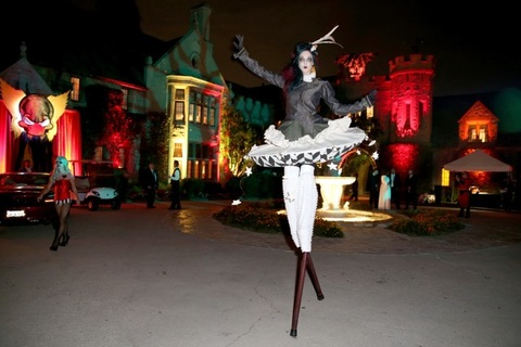 LOS ANGELES, CA - OCTOBER 24: A model performs at the annual Halloween Party, hosted by Playboy and Hugh Hefner, at the Playboy Mansion on October 24, 2015 in Los Angeles, California. (Photo by Joe Scarnici/Getty Images for Playboy)
