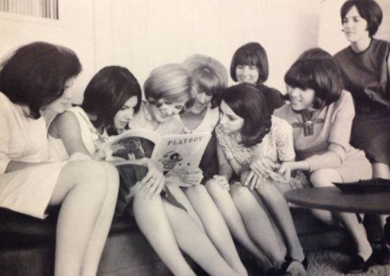 soroity girls reading Playboy