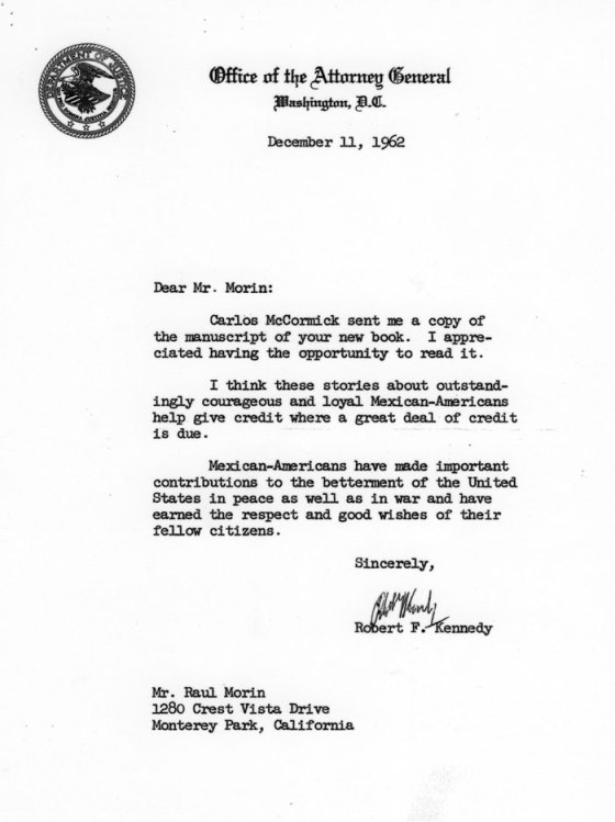 "Letter from Robert F. Kennedy to author of ""Among the Valiant"", Raul Morin"