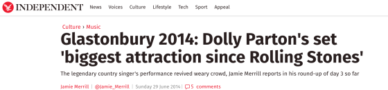 Independent, Dolly at Glastonbury