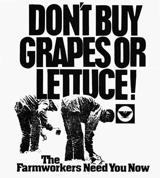 United Farmworkers, DON'T BUY GRAPES OR LETTUCE (1975). Courtesy of the Walter P. Reuther Library, Wayne State University.