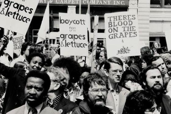Demonstration for the United Farm Workers' grape boycott, midtown Manhattan, May 10, 1975.