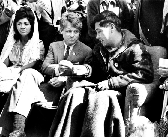 Cesar Chavez Breaking Fast Protest with RFK in Delano, California by Unknown Artist