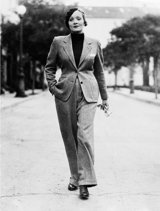 Marlene Dietrich in a (forbidden) pantsuit in the 1930s.