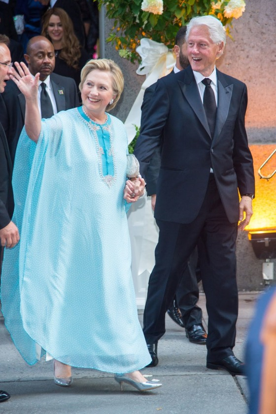 WCW: Hillary Clinton becomes Lady Liberty in flowing pastel blue ...